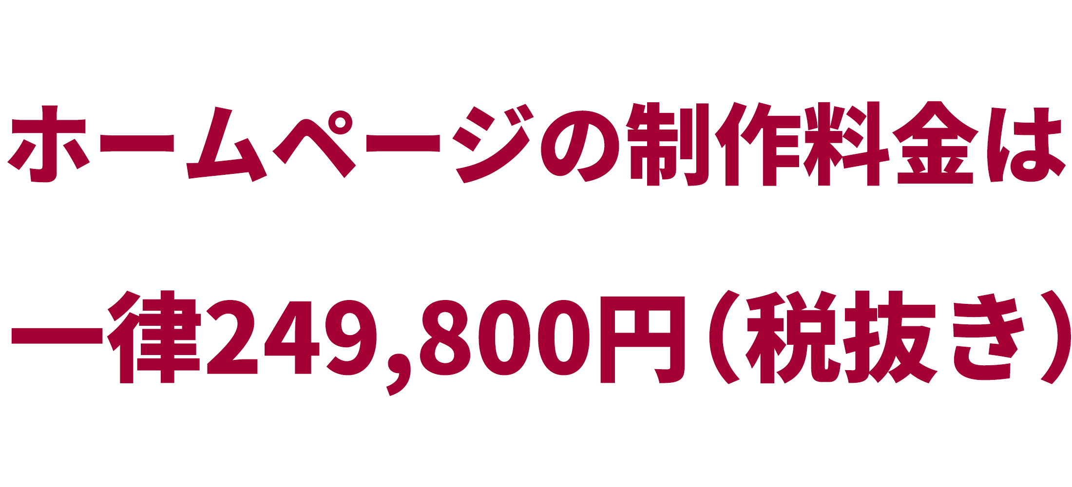 ホームページの制作料金は一律249,800円です。